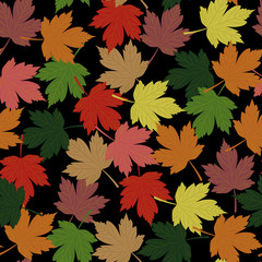 Seamless pattern. Autumn. Multicolored fallen leaves of maple on a black background. Flat style. Vector image.