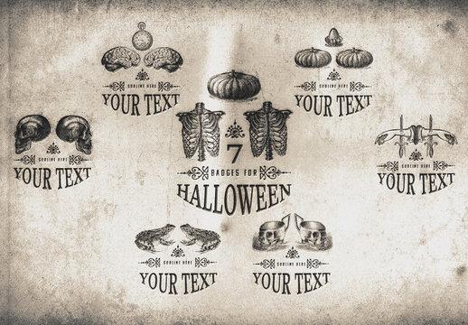 7 Vintage Inspired Halloween Badges/Logos