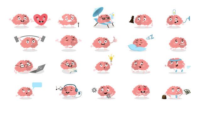 Cartoon brain set.