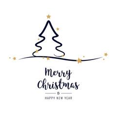 Christmas tree greetings golden stars white background