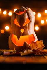 Image of halloween pumpkin cut in shape of face