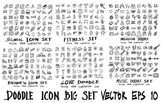 MEGA set of icon doodles of school, fitness, wedding, business, love, music eps10