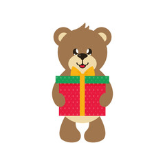 cartoon cute bear with gift