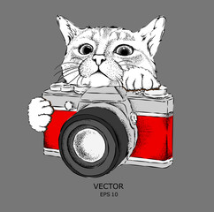 The cat looks out from behind the vintage camera. Hand drawn style. Vector illustration
