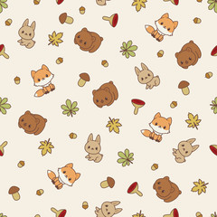 Woodland animals seamless vector pattern/wallpaper.