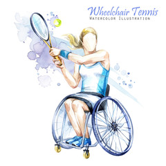 Watercolor illustration. Wheelchair Tennis sport. Figure of disabled athlete in the wheelchair with a racket. Active people. Disability and social policy. Social support.