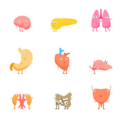 Cartoon Internal Organs Funny Emotions Set. Vector
