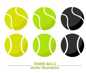 Set of yellow, green and black tennis balls. Tennis vector design. Sports, fitness, activity vector illustration.