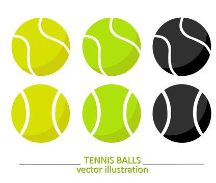 Set of yellow, green and black tennis balls. Tennis vector design. Sports, fitness, activity vector illustration.