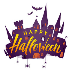 Halloween Scary Castle. Vector illustration. Happy halloween.