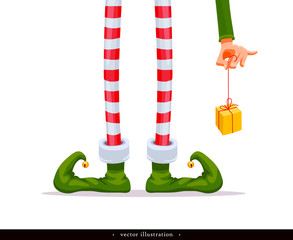 Elf's legs and Elf's hand with a gift. Funny assistant to Santa Claus. Creative Christmas composition. Humorous xmas background. Vector illustration. Isolated on white