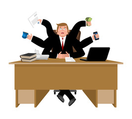 Businessman and lots of hands. Performing many tasks.  Lot of work. Vector illustration