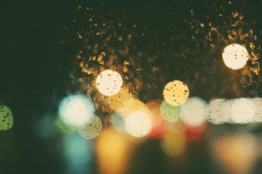 Abstract Street Lights On A Rainy Night