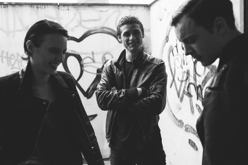 Young punk rockers having fun in the city