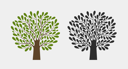 Tree logo or symbol. Nature, garden, ecology, environment icon. Vector illustration