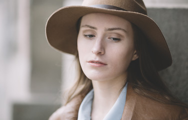 woman with hat  in closeup