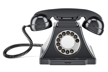 Black old-fashioned phone, 3D rendering