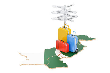 Pakistan travel concept. Pakistani map with suitcases and signpost, 3D rendering