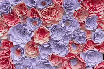 Pink and violet paper flowers background pattern. Backdrop wedding