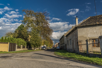 Street in Vsetaty town in autumn day