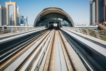 Train station in Dubai. United Arab Emirates.