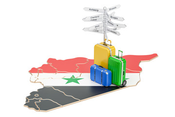 Syria travel concept. Syrian map with suitcases and signpost, 3D rendering