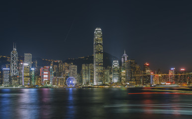 Hong Kong Harbor panorama night scene filled with lights