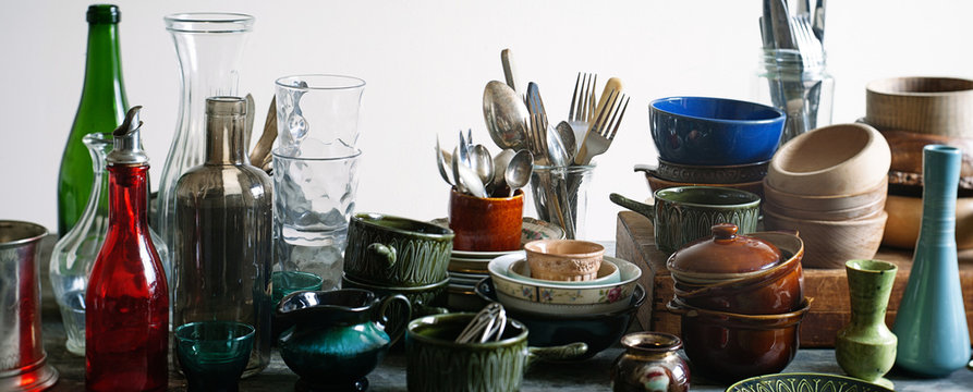 A collection of old kitchenware.