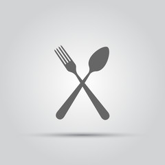 Crossed fork and spoon isolated vector silhouette icon