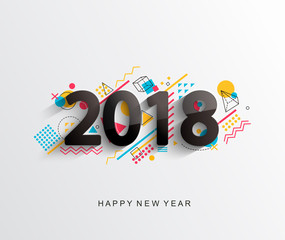 Modern creative new 2018 year design card with geometric shapes on background. Vector illustration.