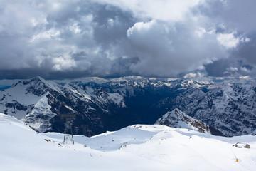 Winter landscape on the Italian Alps ski tracks