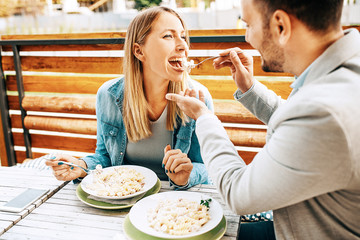 Couple enjoying restaurant