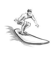 Vector line sketch Surfer