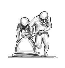 Vector digital sketch bobsleighers