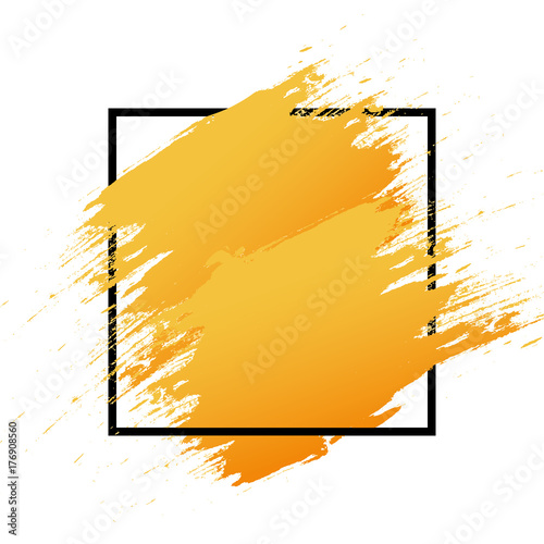 Orange Logo art brush paint vector  Original grunge brush