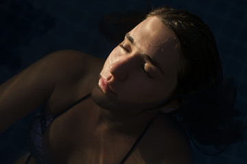 Close up of a Woman in the Swimming Pool