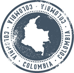 Vintage Colombia South America Travel Stamp