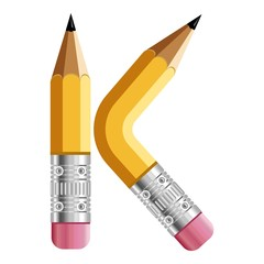Letter k pencil icon, cartoon style