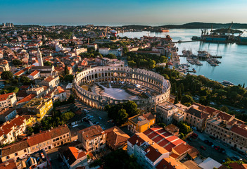 Pula Arena at sunset - HDR aerial view taken by a professional drone. The Roman Amphitheater of Pula, Croatia Fototapete