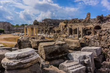 The ancient ruins of the city of Side. Side is an ancient Greek city on Mediterranean coast of Turkey. Antalya.