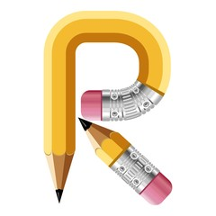 Letter r pencil icon, cartoon style