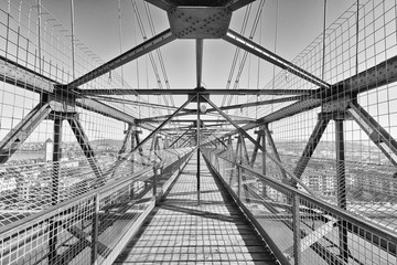 View along the top of a transporter bridge