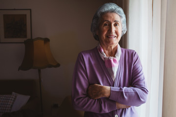 Portrait of Beautiful Senior Woman Standing by the Window