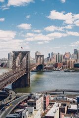 View of Brooklyn bridge, lower Manhattan and Brooklyn