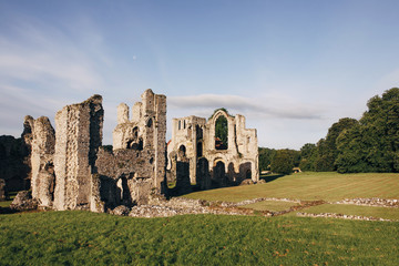 Old Priory ruins at sunrise.