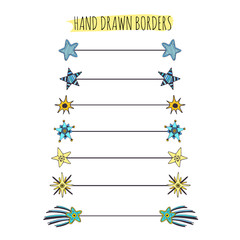 Stars doodle borders set. Text dividers collection. Hand drawn elements