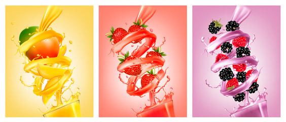 Set of labels of of fruit in juice splashes. Mango, strawberry, raspberry, blackberry. Vector.