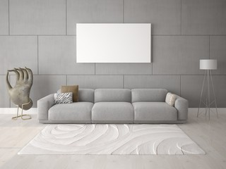 Mock up the living room with a stylish sofa on the hipster background.