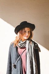 Teenage Girl with Coat and Hat Portrait