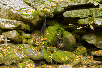 Mountain Spring Trickling Over Boulders
